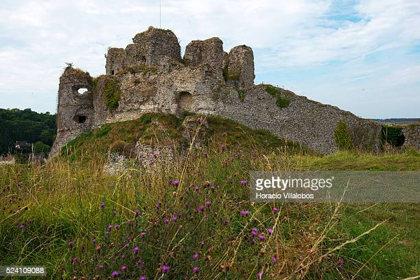 Ruins of the castle of ArqueslaBataille near Dieppe France 23 August 2013 The fortified castle was built on a rocky promontory overlooking the town...