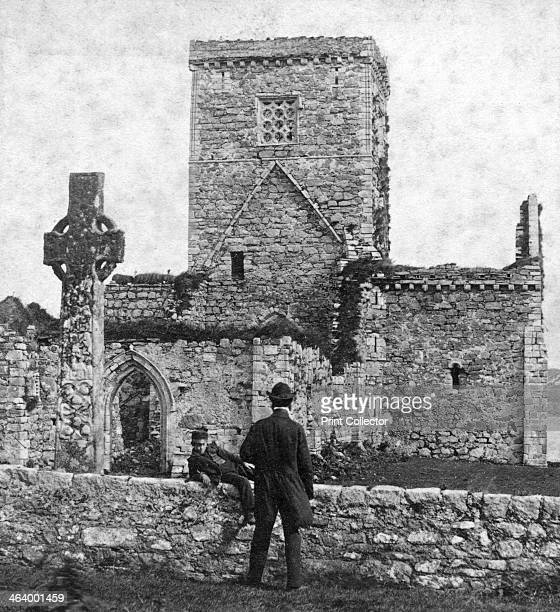Ruins of the cathedral and St Martin's Cross Iona Argyll and Bute Scotland late 19th century Stereoscopic card Detail