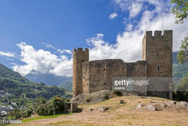 Ruins of the Chateau Sainte-Marie castle near Esterre and Luz-Saint-Sauveur, Hautes-Pyrenees, France.