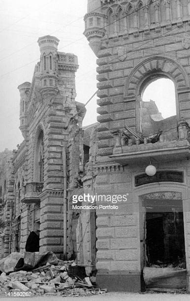 Ruins of the Chisinau Town Hall as the city is being reoccupied by Romanian troops Chisinau July 1941