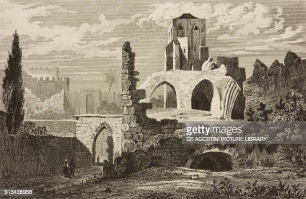 Ruins of the church of Our Lady of the Seven Sorrows, Jerusalem, Israel, engraving by Gaucherel and Lemaitre from Palestine, Description...