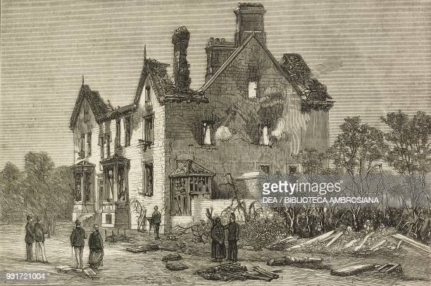 Ruins of the Colonel Robert Raynsford Jackson's house burnt down during the Cotton riots in Lancashire Wilpshire near Blackburn England United...