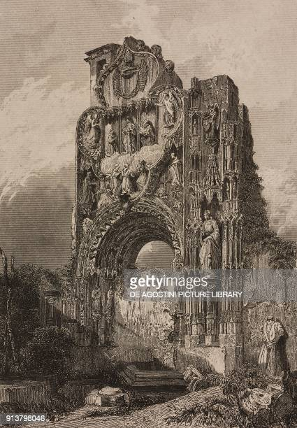 Ruins of the Convent of Discalced Carmelites Burgos Spain engraving by Lemaitre from Espagne by Joseph Lavallee Iles Baleares et Pithyuses by...