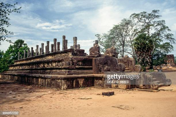 Ruins of the Council chamber ancient city of Polonnaruwa Sri Lanka 12th century