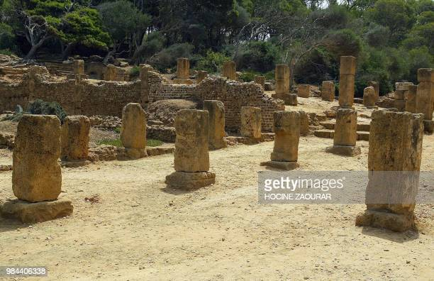 Ruins of the decumanus maximus are pictured 14 August 2002 at the historic site of Tipasa On he Shores of the Mediterranean Tipasa was an ancient...