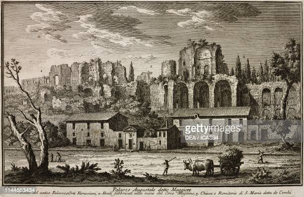 Ruins of the Domus Augustana at the foot of Circus Maximus Rome Italy etching by Giuseppe Vasi from Delle magnificenze di Roma antica e moderna libro...