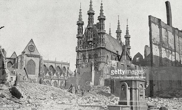 Ruins of the French town of Louvain after four days and nights of assault World War One 19140101