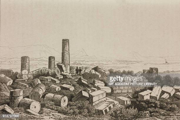 Ruins of the Great Temple Valley of the Temples Agrigento Sicily Italy engraving by Lemaitre from Italie by AlexisFrancois Artaud de Montor Sicilie...