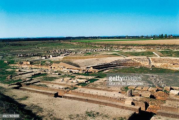 Ruins of the Greek theatre Metaponto Basilicata Italy Greek civilization 4th century BC