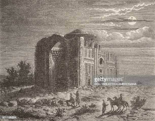 Ruins of the Haruniyye tomb in Tus near Mashhad Iran drawing by Alexandre De Bar after a sketch by Blocqueville from Fourteen months of captivity...