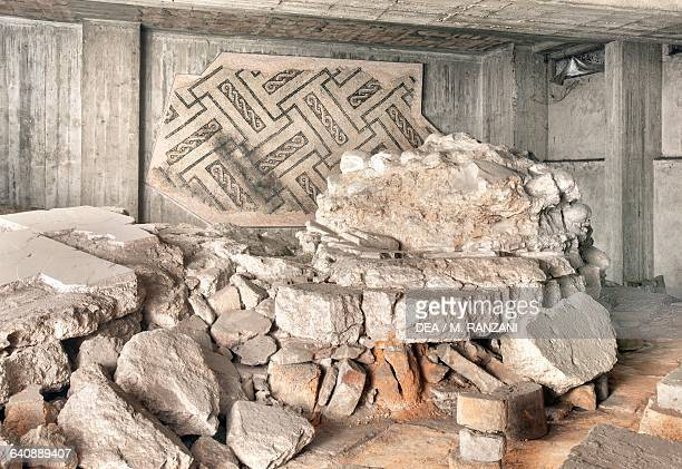 Ruins of the Herculean baths found during excavations of the metro in corso Europa Milan Lombardy Italy Roman civilisation 3rd4th century AD