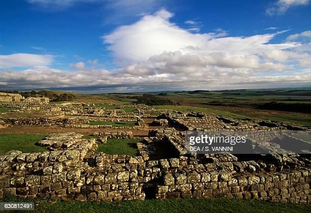 Ruins of the hospital Housesteads Roman Fort Hadrian's Wall Northumberland England United Kingdom Roman civilisation 2nd century