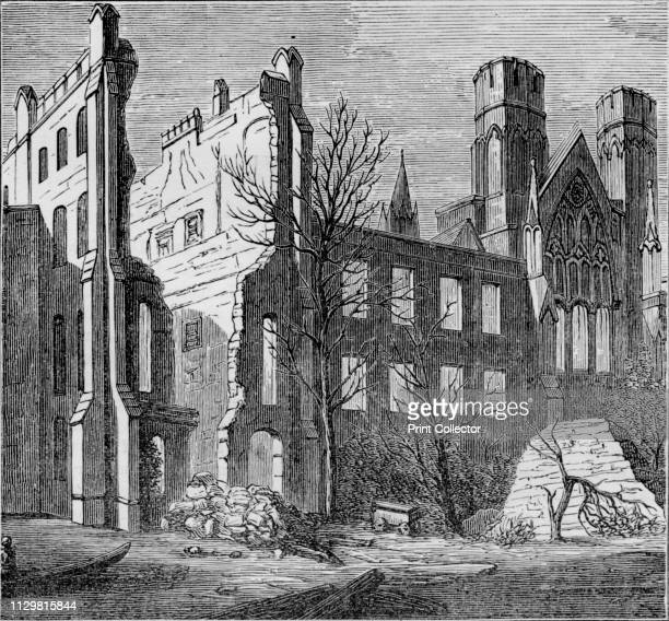 Ruins of the Houses of Parliament after the fire in 1834' View of the Palace of Westminster in London after it was destroyed by fire Artist Unknown