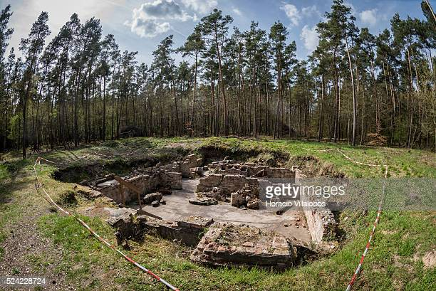 Ruins of the kitchen's basement where inmates were tortured in Walldorf concentration camp in Walldorf Germany 12 April 2015 almost 70 years after...