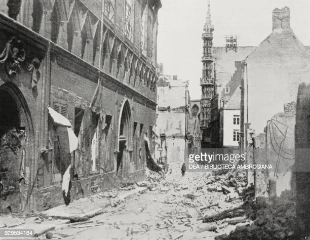 Ruins of the Library of the Catholic University of Leuven, Belgium, World War I, from L'Illustrazione Italiana, Year XLI, No 39, September 27, 1914.