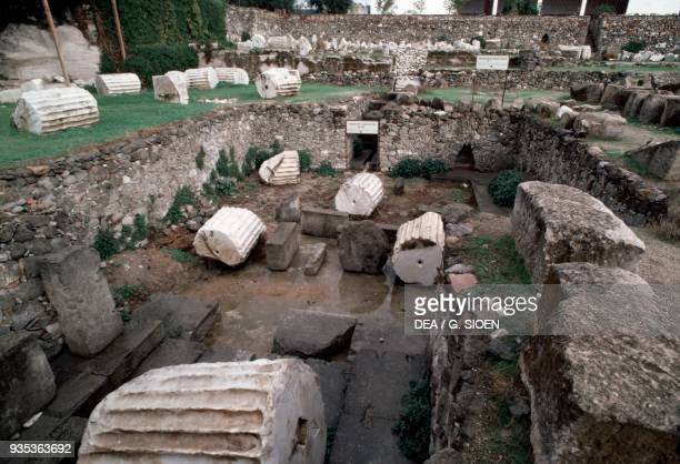 Ruins of the Mausoleum of Halicarnassus monumental tomb that Artemisia had built for her husband Mausolus satrap of Caria Bodrum Turkey Hellenistic...