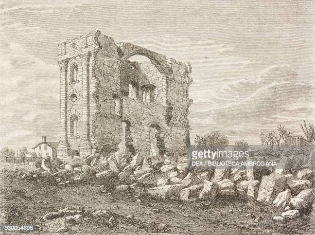 Ruins of the Nauvoo Temple Mormon settlement Illinois United States of America drawing by FrancoisFortune Ferogio from a sketch by Jules Remy from...