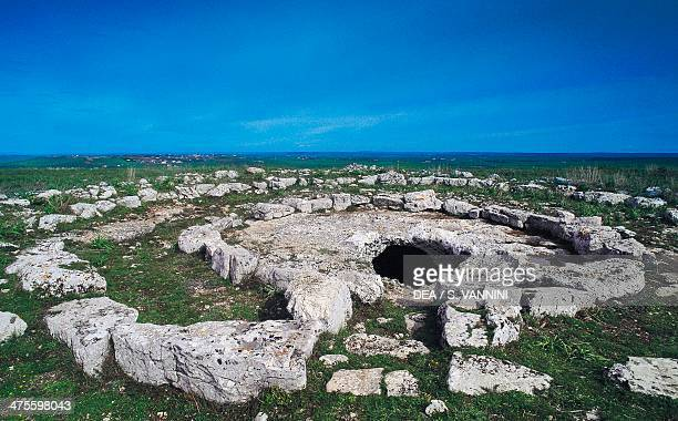 Ruins of the Neolithic village of Murgia Timone Matera Basilicata Italy