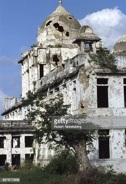 Ruins of the old Jaffna City Library remain January 11991 in downtown Jaffna Sri Lanka The original building held original Tamil manuscripts and...