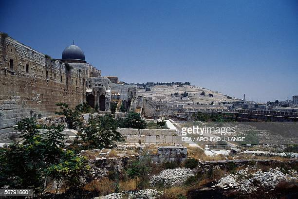 Ruins of the Ophel or Ophlas mound upon which ancient Jerusalem was founded outside the walls of the Old City of Jerusalem Jerusalem Israel