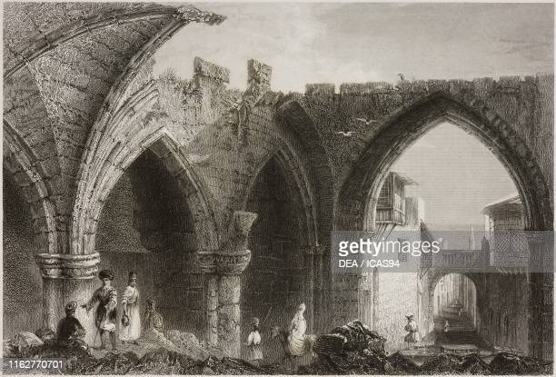 Ruins of the Palace of the Grand Masters of the Knights of Rhodes Rhodes Greece engraving by E G Treacher after a drawing by W H Bartlett from La...