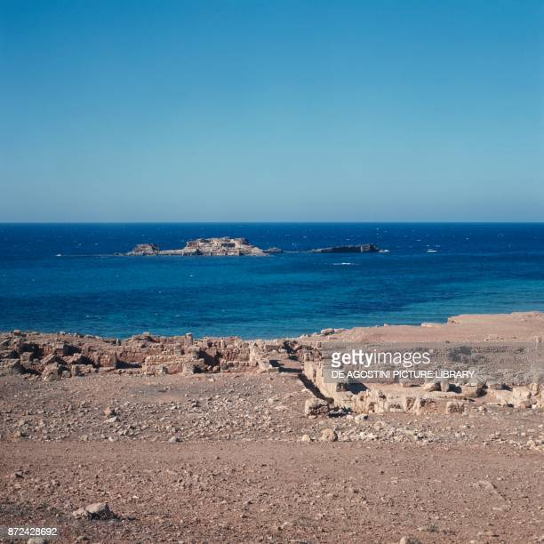 Ruins of the pier and the baths in Apollonia ancient Greek colony in Cyrenaica Libya 7th century BC
