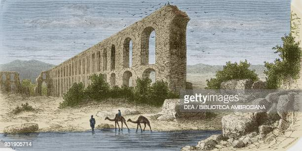 Ruins of the Roman aqueduct Zaghouan Tunisia drawing by Alexandre de Bar from Voyage a Tunis by Amabile Crapelet from Il Giro del mondo Journal of...