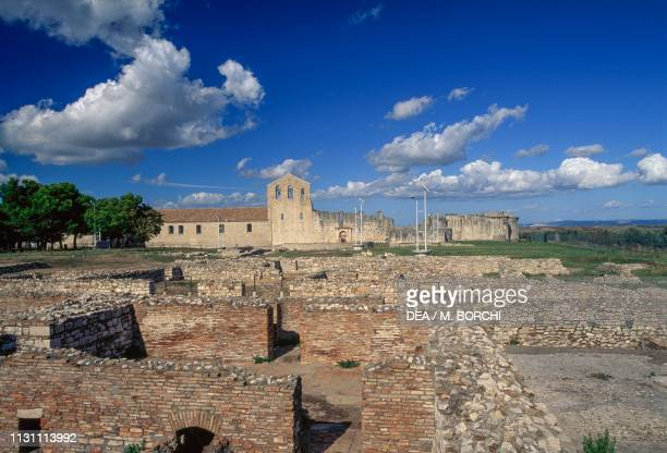 Ruins of the Roman Baths new church Abbey of the Holy Trinity Venosa Basilicata Italy