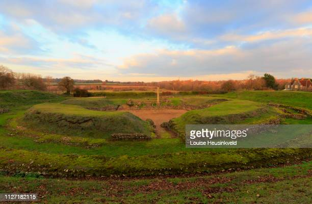 ruins of the roman theatre at verulamium, st albans, hertfordshire - hertfordshire stock pictures, royalty-free photos & images