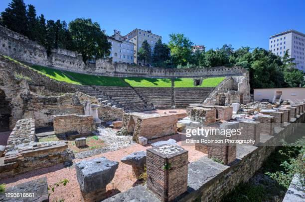 ruins of the roman theatre of trieste, italy - トリエステ ストックフォトと画像