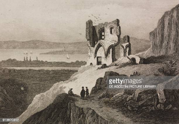 Ruins of the Saint Anthony's Chapel near Edinburgh Scotland United Kingdom engraving by Schroeder from Angleterre Ecosse et Irlande Volume IV by Leon...