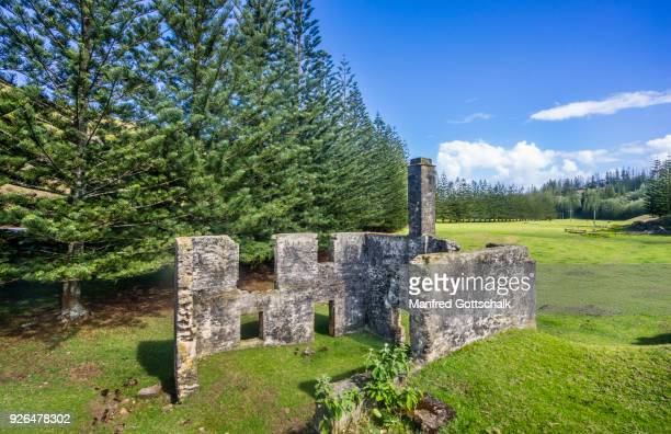 ruins of the second watermill norfolk island - old ruin stock pictures, royalty-free photos & images