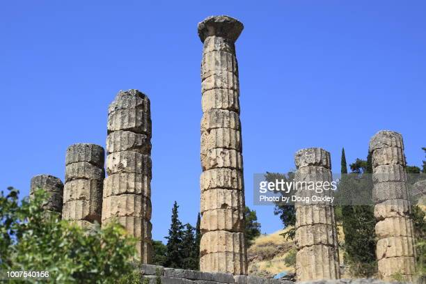 ruins of the temple of apollo at delphi - old ruin stock pictures, royalty-free photos & images