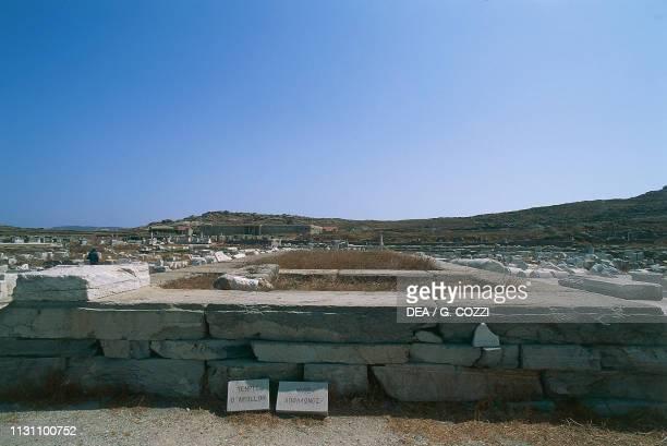 Ruins of the Temple of Apollo, Delos , Cyclades Islands, Greece, Greek civilization, 5th century BC.