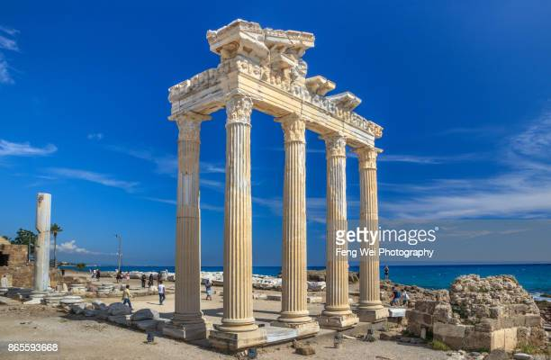 ruins of the temple of apollo, side, antalya, turkey - antalya stock-fotos und bilder