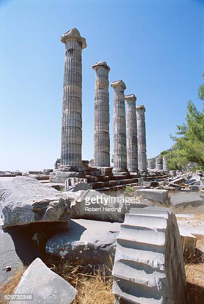 ruins of the temple of athena, archaeological site, priene, anatolia, turkey, asia minor, asia - priene stock photos and pictures
