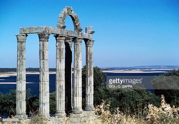 Ruins of the Temple of Diana or Augustobriga temple near the artificial lake of Valdecanas de Tajo Extremadura Spain Roman civilisation