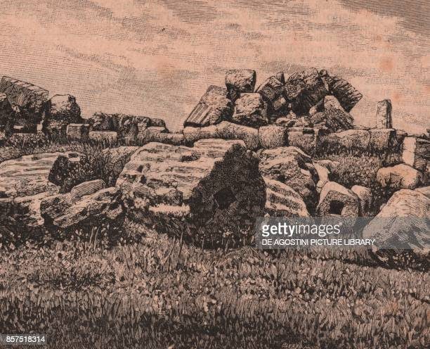 Ruins of the Temple of Heracles or Hercules Girgenti or Agrigento Sicily Italy woodcut from Le Cento citta d'Italia illustrated monthly supplement of...