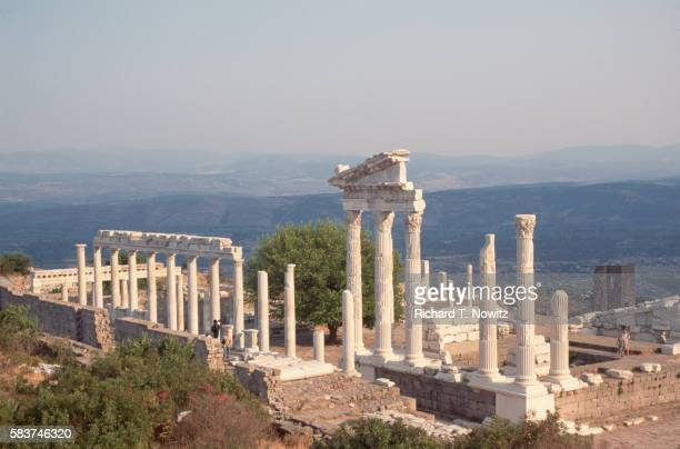 ruins of the temple of trajan - ペルガモン ストックフォトと画像