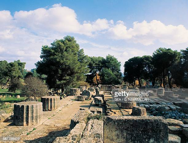 Ruins of the Temple of Zeus 470456 BC Olympia Greece Greek civilisation 5th century BC