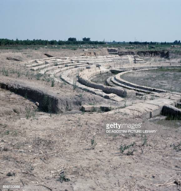Ruins of the theater in the archaeological area of Metaponto Bernalda Basilicata Italy 4th century BC