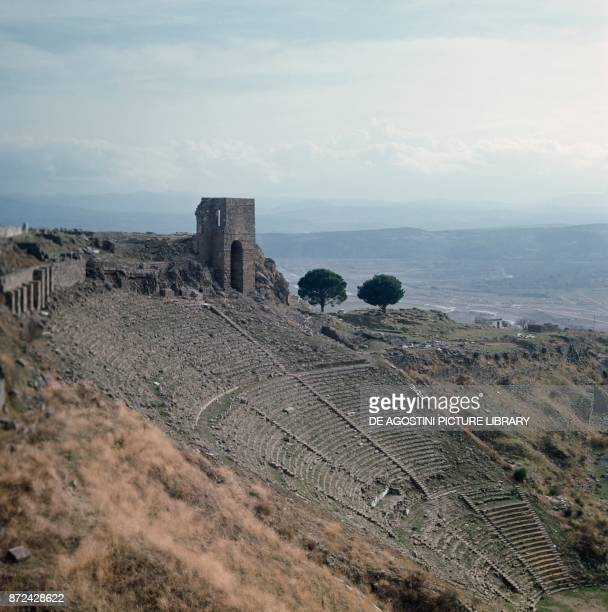 Ruins of the Theater in the upperAcropolis of Pergamon ancient Greek city in Aeolis Turkey