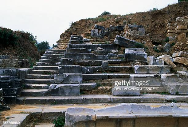 Ruins of the theatre at Sparta Peloponnese Greece Roman civilisation 1st century BC