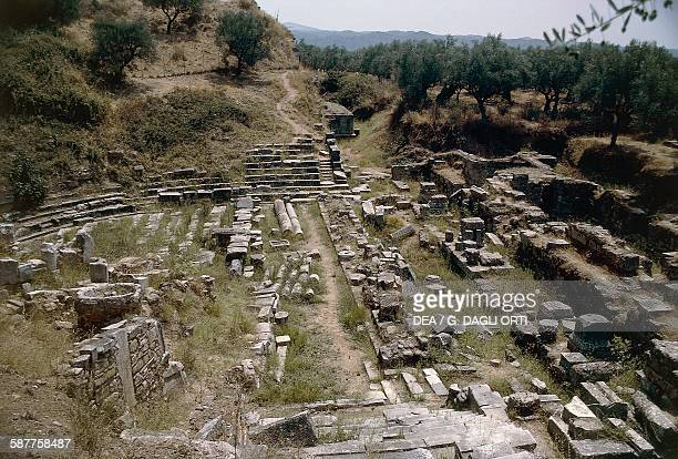 Ruins of the theatre on the Acropolis of Sparta Greece Greek civilisation 6th century BC