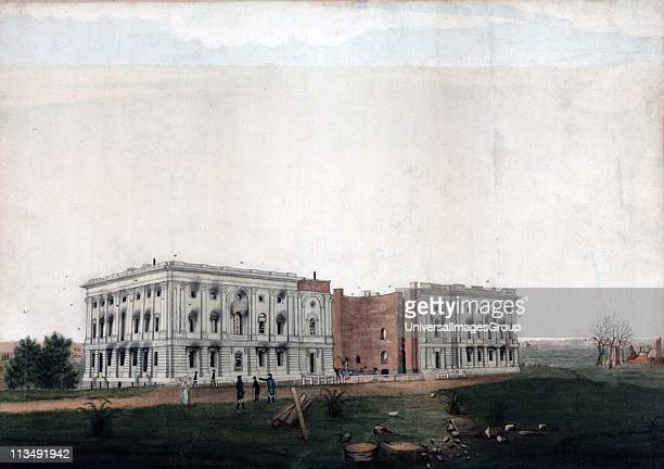Ruins of the US Capitol building Washington after British attempt to burn it on 24 August 1814 during the AngloAmerican War 18121815 Ink and...