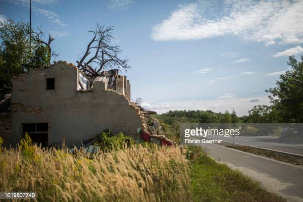 Ruins of the village Karlsfeld are pictured on August 15 2018 in Karlsfeld Germany As a result of coal mining next to the village Karlsfeld became...