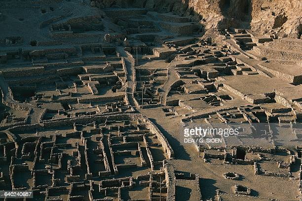 Ruins of the village which was home to the artisans who worked on the tombs in the Valley of the Kings Dayr alMadinah Ancient Thebes Egypt Egyptian...