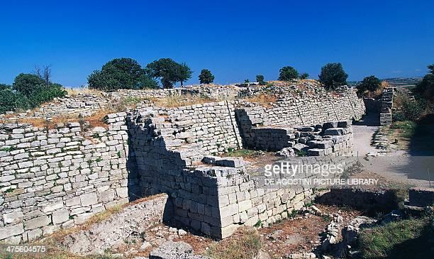 Ruins of the walls of Troy VI Troy Hisarlik Turkey 18001250 BC