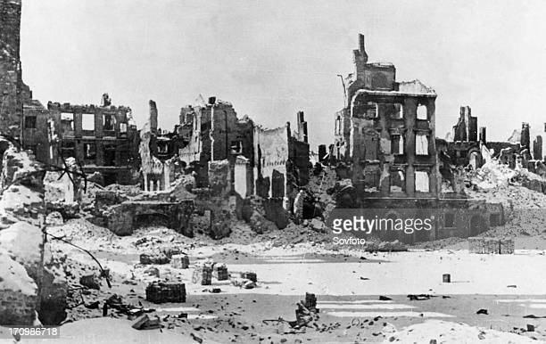 Ruins of the warsaw ghetto in poland at the end of world war ll in 1945