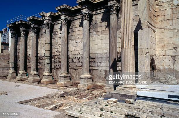 Ruins of the western facade of Hadrian's library 132 AD Athens Greece Greek civilisation 2nd century